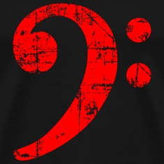 Bass Clef Vintage Musical Symbols Design (Red) T-Shirts