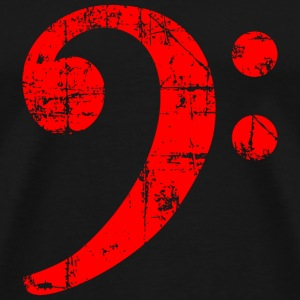 Bass Clef Vintage Musical Symbols Design (Red) T-shirts - Herre premium T-shirt