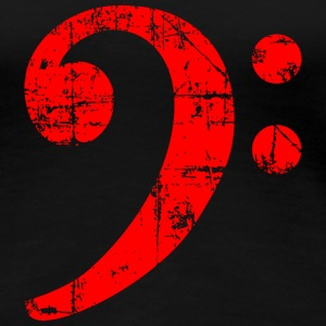 Bass Clef Vintage Musical Symbols Design (Red) T-Shirts - Women's Premium T-Shirt