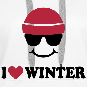 Smiley I love Winter Ski Wintersport Pullover & Hoodies - Frauen Premium Hoodie