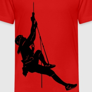 1000_rope_climbing_woman_ - Kinder Premium T-Shirt