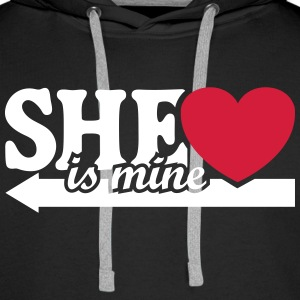 She is mine I love you my Girlfriend Kocham cię  Bluzy - Bluza męska Premium z kapturem
