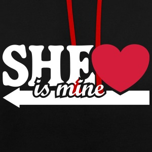 She's mine I love you my Girlfriend Jeg elsker Sweatshirts - Kontrast-hættetrøje