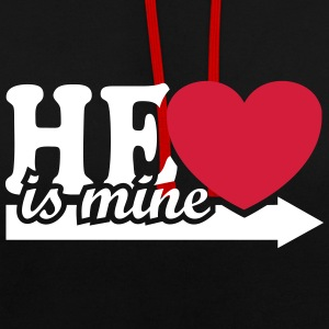 He is mine I love you my Boyfriend Freund Liebe  Pullover & Hoodies - Kontrast-Hoodie