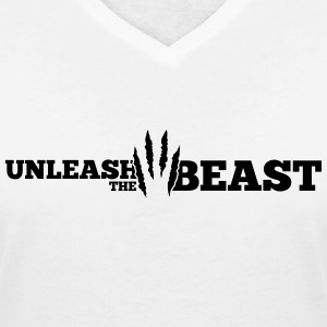 Unleash the Beast Bodybuilding Kratzspuren T-Shirts - Women's V-Neck T-Shirt