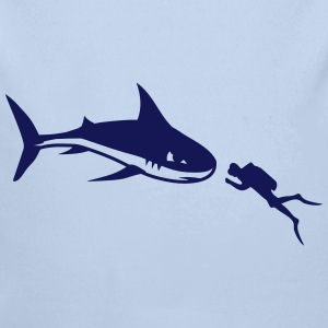 A shark and a diver Hoodies - Longlseeve Baby Bodysuit