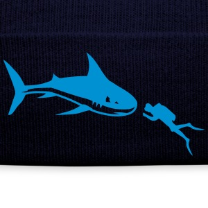 A shark and a diver Caps & Hats - Winter Hat