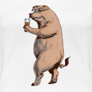 Wit Pig and cider T-shirts - Vrouwen Premium T-shirt