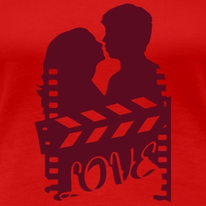 A love story with clapperboard and a loving couple T-Shirts - Women's Premium T-Shirt