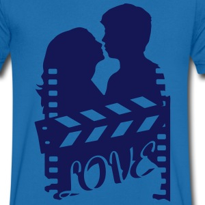 A love story with clapperboard and a loving couple T-Shirts - Men's V-Neck T-Shirt