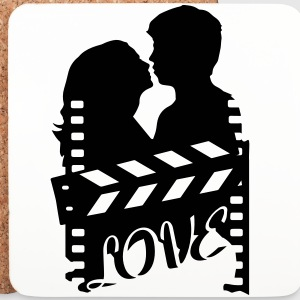 A love story with clapperboard and a loving couple Mugs & Drinkware - Coasters (set of 4)