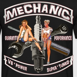 Mechanic spark pinup girl T-Shirts back print - Männer T-Shirt