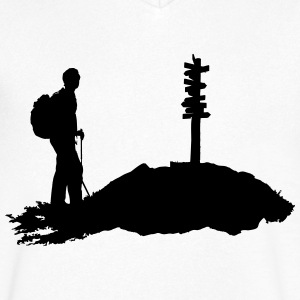 hiking, hiker - man - Men's V-Neck T-Shirt