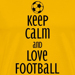 keep calm and love football T-skjorter - Premium T-skjorte for menn
