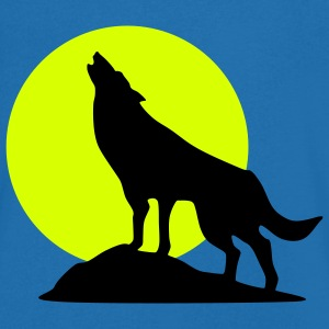 wolf and full moon - Men's V-Neck T-Shirt