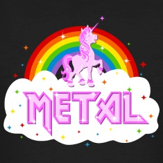 metal music heavy unicorn rainbow funny T-Shirts