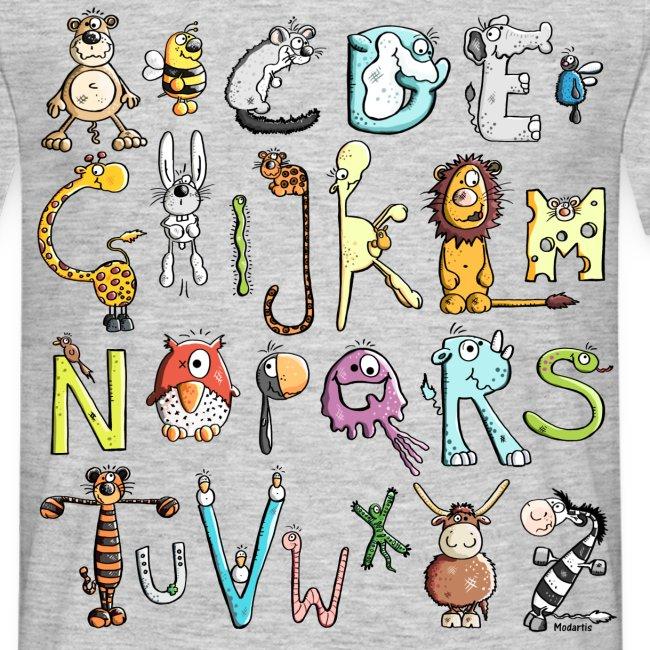 Hombre-Camiseta con Alfabeto Animal 0700cd5ae6eeb