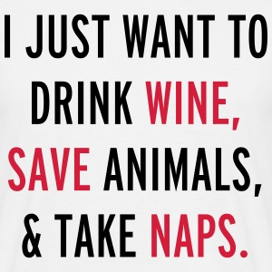 Drink Wine & Save Animals  T-shirts - Mannen T-shirt