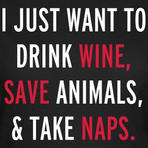 Drink Wine & Save Animals  T-shirts - T-shirt dam