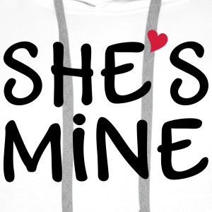 She's Mine I love you my Girlfriend Kocham cię Bluzy - Bluza męska Premium z kapturem