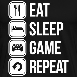 eat sleep game repeat T-shirts - Mannen Premium T-shirt