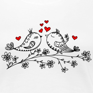 Birdie Love, Heart, Bird, Valentines Day T-shirts - Vrouwen Premium T-shirt