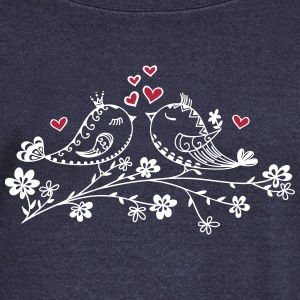 Birdie Love, Heart, Bird, Spring, Summer, Kiss Hoodies & Sweatshirts - Women's Boat Neck Long Sleeve Top