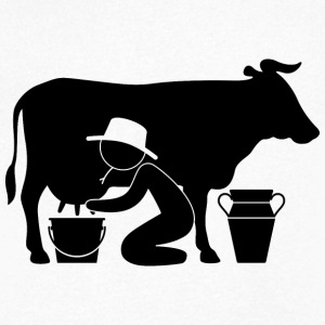 Farmer at milking a cow T-Shirts - Men's V-Neck T-Shirt