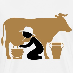 Farmer at milking a cow T-Shirts - Men's Premium T-Shirt