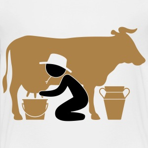 Farmer at milking a cow Shirts - Teenage Premium T-Shirt