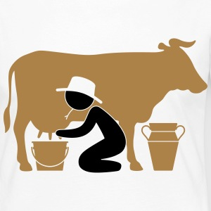 Farmer at milking a cow Long Sleeve Shirts - Women's Premium Longsleeve Shirt