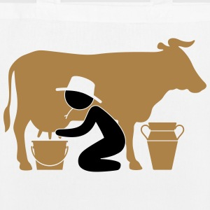 Farmer at milking a cow Bags & Backpacks - EarthPositive Tote Bag