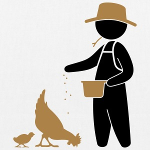 Farmer feeding the chickens Bags & Backpacks - EarthPositive Tote Bag