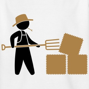 Bauer sorted hay bale with pitchfork Shirts - Teenage T-shirt