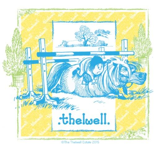 PonySturz Blau Gelb Thelwell Cartoon