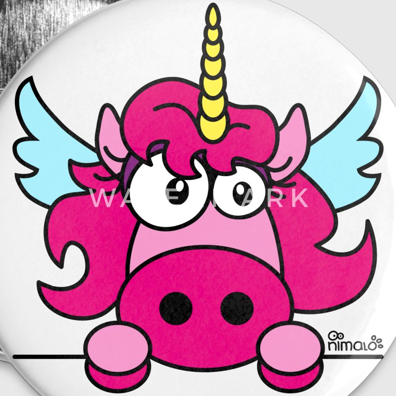 Pack 5 badges 25mm Licorne Rose - Badge petit 25 mm