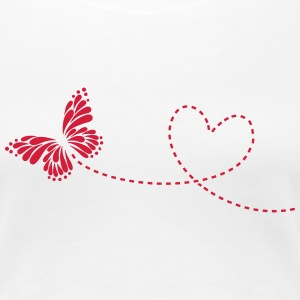 Butterfly, Heart, Love, Spring, Valentine's Day,   - Women's Premium T-Shirt