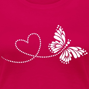 Butterfly in Love, Heart, Spring, Valentine's Day, - Women's Premium T-Shirt