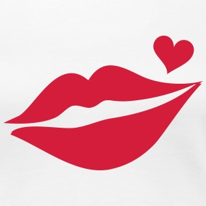 Lips with heart, love kiss, mouth, Valentine`s Day T-shirts - Dame premium T-shirt