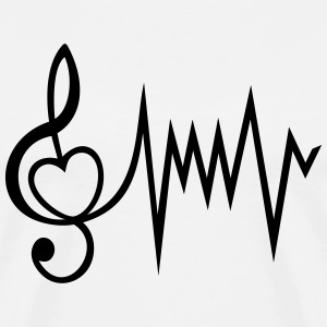 Treble Clef Music Music heart rate I love - Men's Premium T-Shirt
