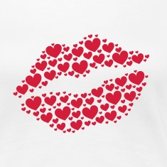 Kiss, lips, hearts, Valentines Day, Love, Kissing T-shirts