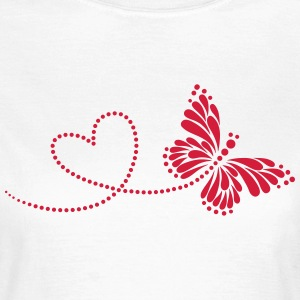 Butterfly in Love, Heart, Spring, Valentine's Day, T-shirts - Dame-T-shirt