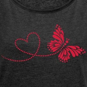 Butterfly in Love, Heart, Spring, Valentine's Day, Camisetas - Camiseta con manga enrollada mujer