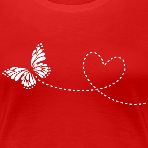 Butterfly, Heart, Love, Spring, Valentine's Day,  T-shirts - Dame premium T-shirt