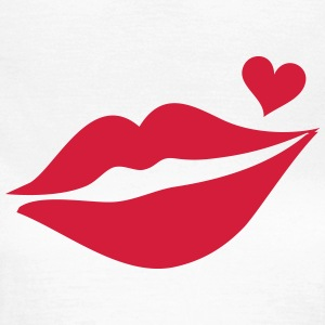 Lips with heart, love kiss, mouth, Valentine`s Day T-shirts - Vrouwen T-shirt
