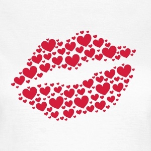 Kiss, lips, hearts, Valentines Day, Love, Kissing T-shirts - Vrouwen T-shirt