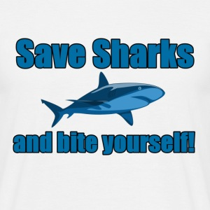 Save Sharks and bite yourself! - Men's T-Shirt