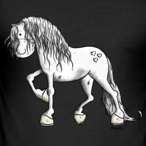 Cute White Horse T-Shirts - Men's Slim Fit T-Shirt