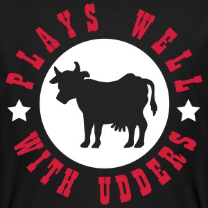 Plays well with udders T-shirts - Mannen Bio-T-shirt