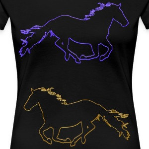 Horses Outlined - Women's Premium T-Shirt